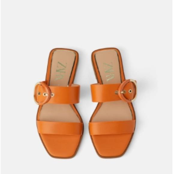 Zara Leather Buckle Sandal
